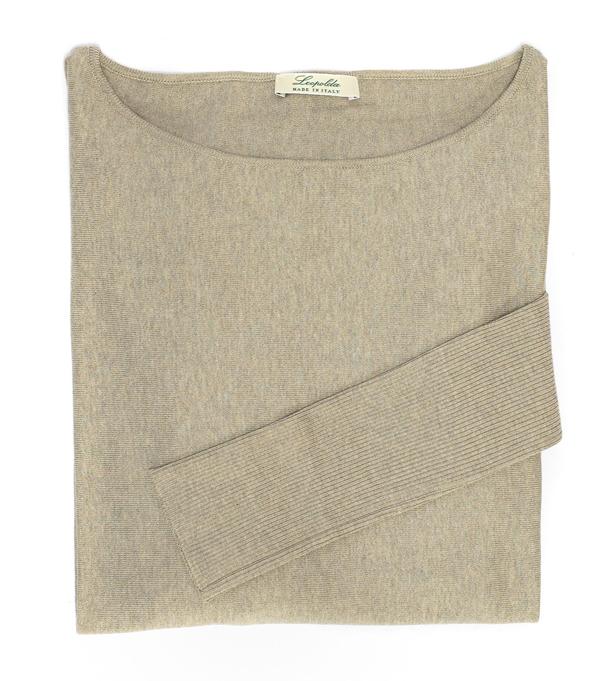 comoda maglia scollo v in cashmere colore corda di leopolda cashmere Italia
