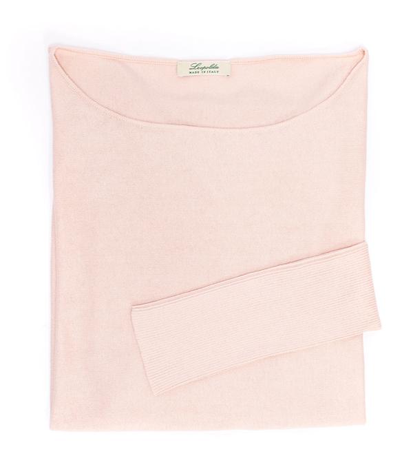 Maglia over rosa di Leopolda cashmere Firenze