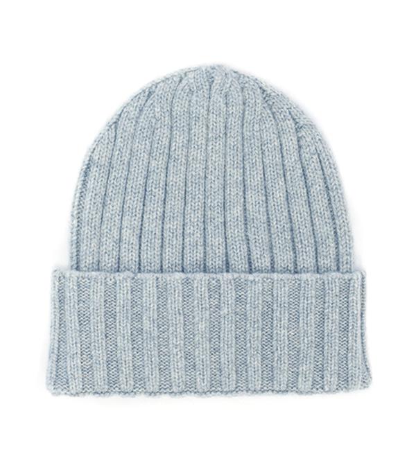 cappello papalina di colore cielo 100% cashmere produzione made in italy