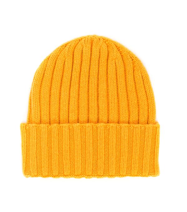cappello papalina di colore papaya 100% cashmere produzione made in italy