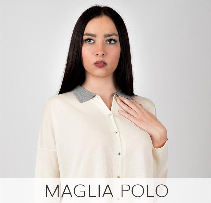 Maglia polo con collo a contrasto in lana merinos e seta Leopolda cashmere