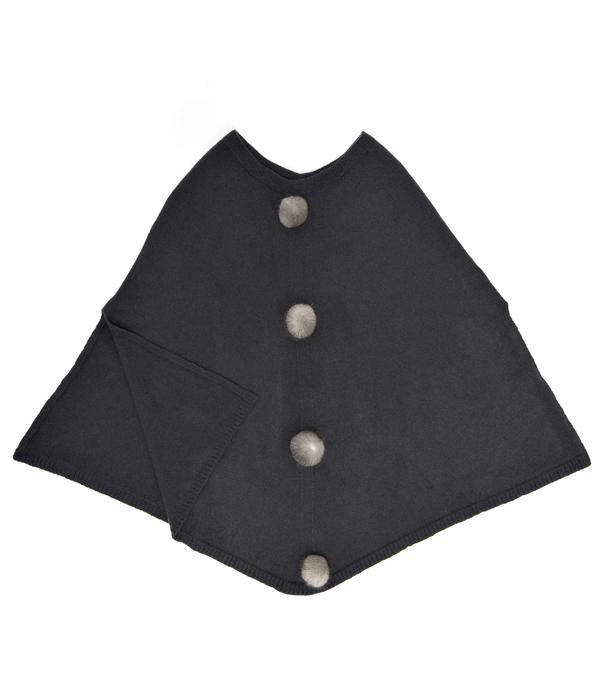 Mantella antracite con pon pon in pelliccia di leopolda cashmere Bolgheri