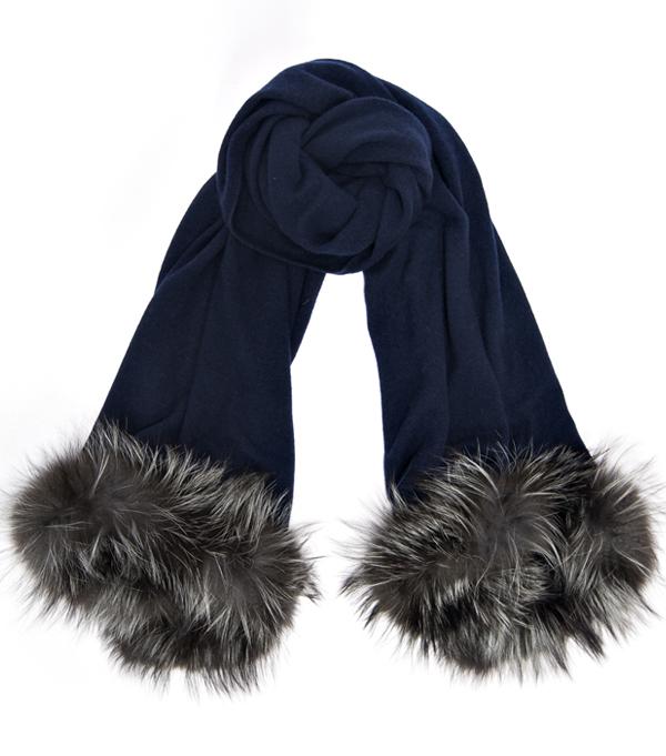 Vendita on line Nuvola - Stola blu 100% cashmere con inserti in pelliccia di Leopolda Manifatture artigiane