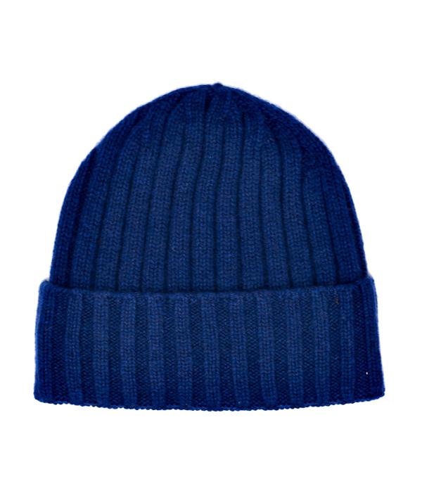 Cappello costa unisex blu in cashmere prodotto in Italia