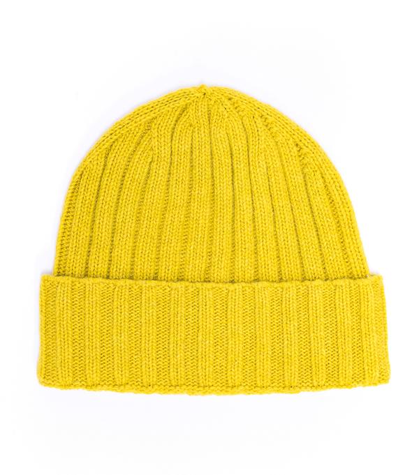 Cappello giallo a costa in 100% cashmere di Leopolda cashmere Montalcino