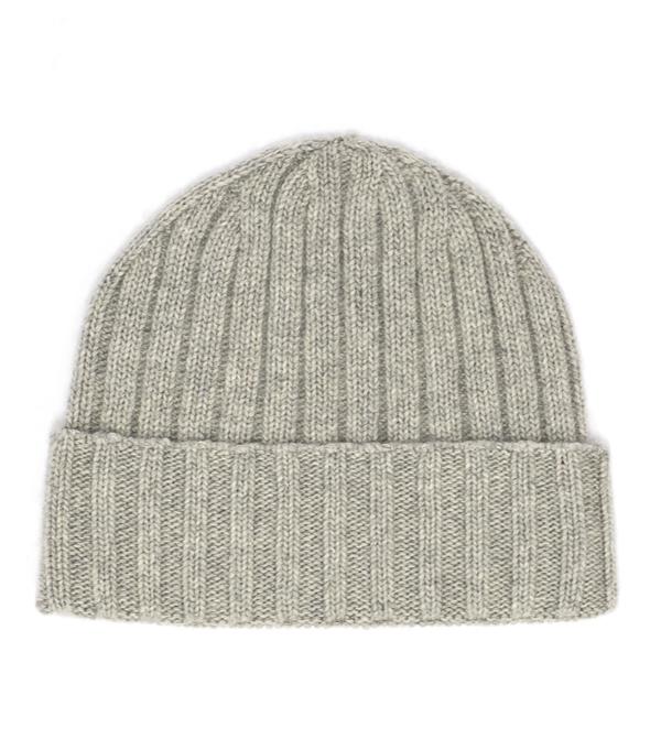 Cappello unisex grigio 100% cashmere Italia