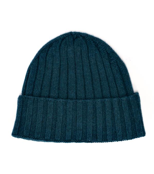 Cappello costa color petrolio in 100% cashmere di Leopolda Pisa