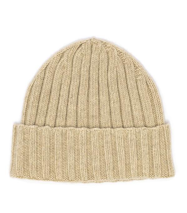 cappello papalina di colore sughero in finissimo cashmere produzione made in italy