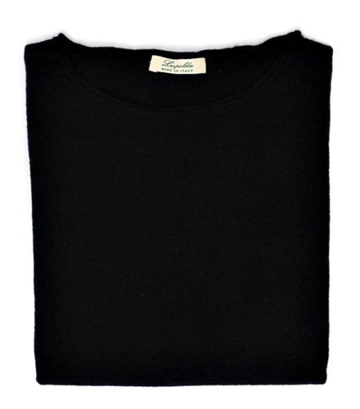 maglia scollo barca colore nero misto cashmere di Leopolda