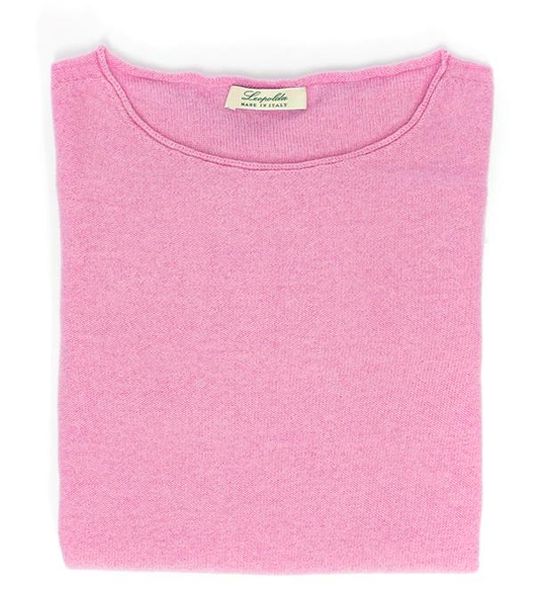 Maglia scollo barca colore rosa in lana merinos e cashmere di Leopolda cashmere Italia