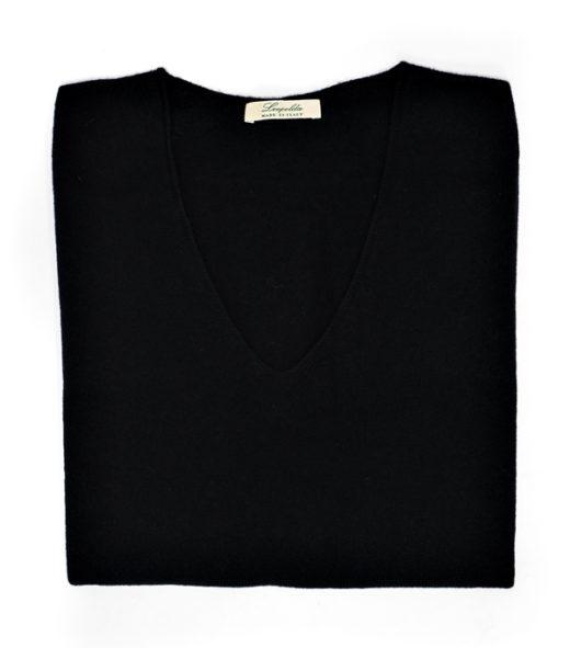 Comoda maglia scollo v in cashmere e merinos di Leopolda cashmere Italia