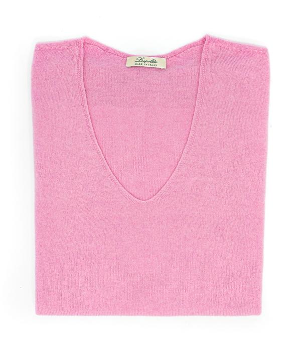 Comoda maglia misto cashmere scollo v rosa di Leopolda cashmere Italia