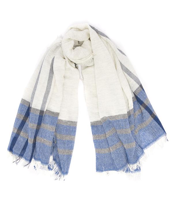 Scialle Leonardo misto cashmere di colore check azzurro di Leopolda cashmere