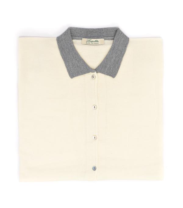 Maglia polo avorio in lana merinos e seta vendita on line su Leopolda