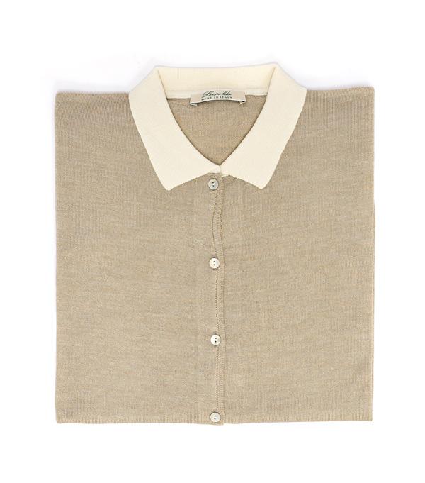 Maglia polo beige e avorio in lana merinos e seta in vendita on line su Leopolda
