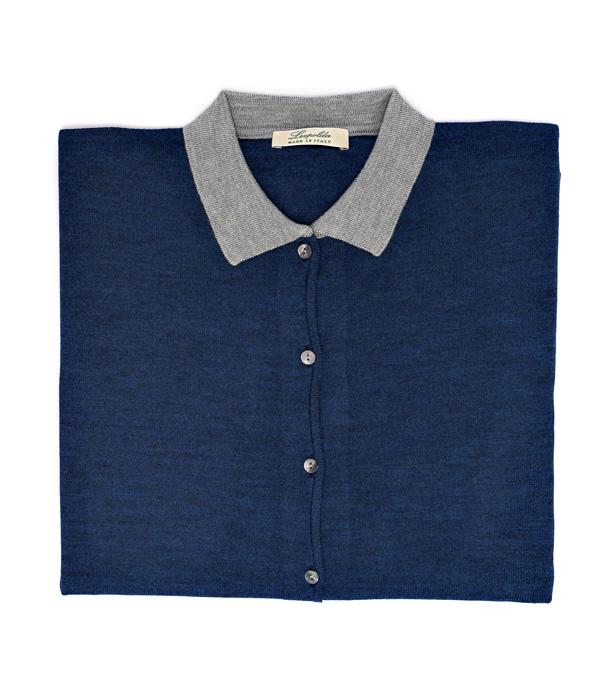 Maglia polo blu e perla in seta e lana merins in vendita su Leopolda cashmere