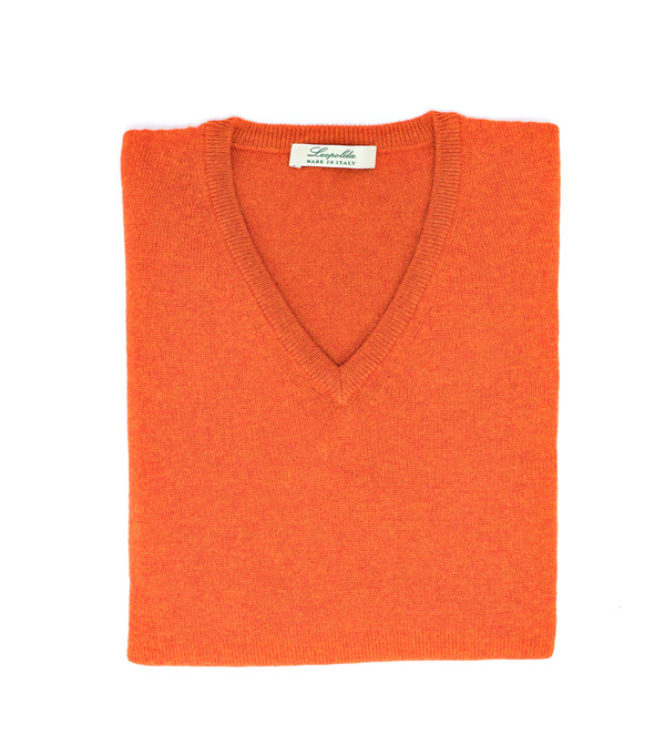 maglia donna scollo v in puro cashmere colore arancio