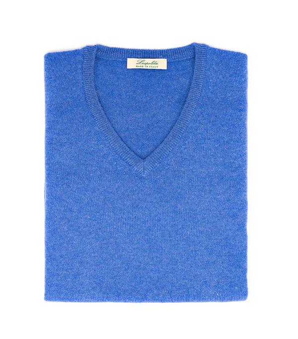 Maglia scollo v 100% cashmere di colore azzurro made in italy