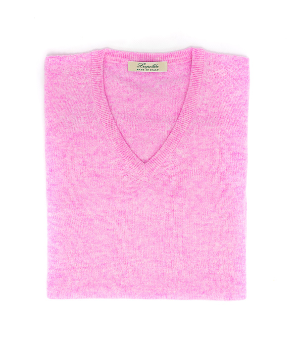 maglia donna scollo v colore rosa di Leopolda manifatture artigiane 100% cashmere