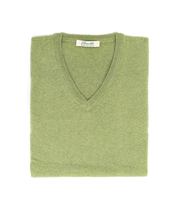 Maglia scollo v donna colore verde 100% cashmere di Leopolda