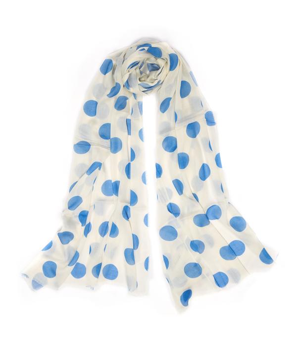 Stola Maila in misto cashmere colore avorio con pois azzurro - made in italy Leopolda
