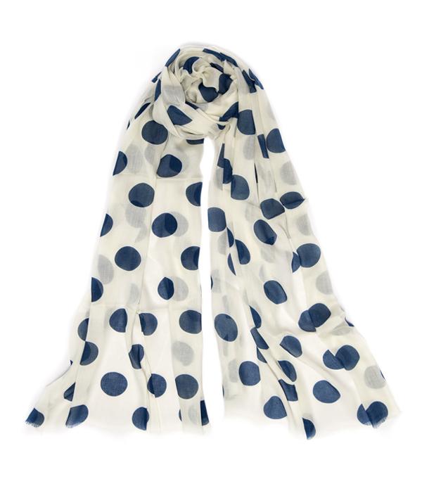 Stola Maila in misto cashmere colore avorio con pois navy - made in italy - leopolda cashmere