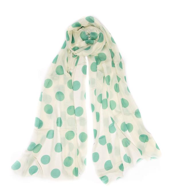 Stola Maila in misto cashmere colore avorio con pois verdi - Leopolda manifatture artigiane made in italy