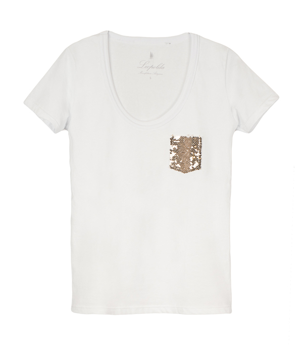 cotton t-shirt with golden sequins - made in italy