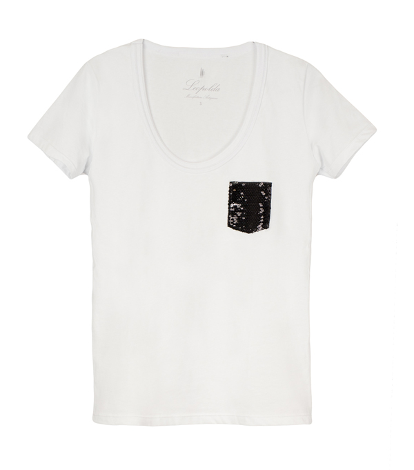 cotton t-shirt with black sequins - Leopolda manifatture artigiane