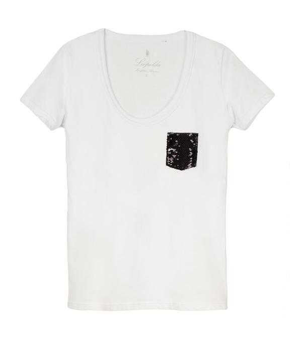 cotton t-shirt with black sequins - Leopolda manifatture artigiane