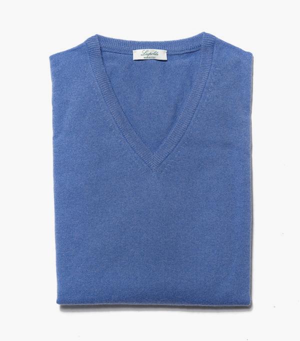 Man cashmere V neck pullover color: Denim