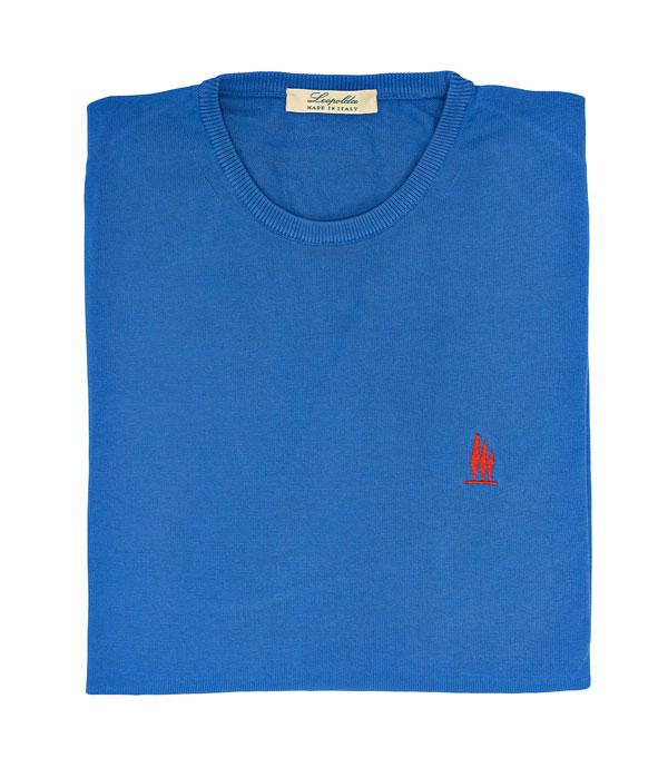 maglia girocollo cotone azzurro vendita online Leopolda manifatture artigiane