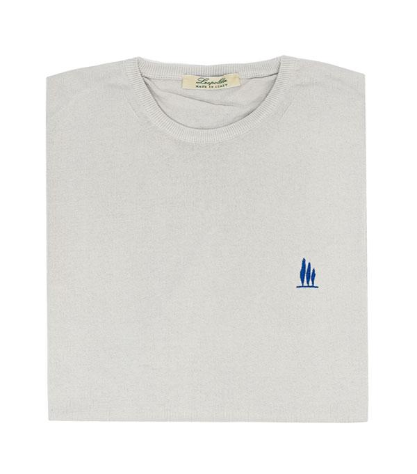 maglia uomo girocollo in cotone bianco vendita online - made in italy