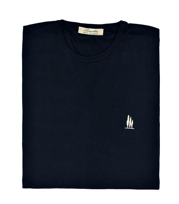maglia girocollo cotone blu vendita online Leopolda manifatture artigiane