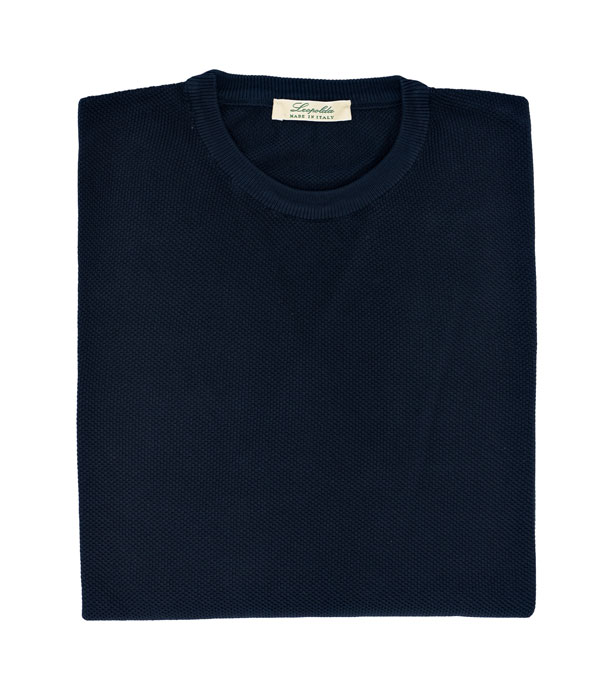 maglia lavorazione a chicco di riso colore blu vendita online su leopolda cashmere- made in italy