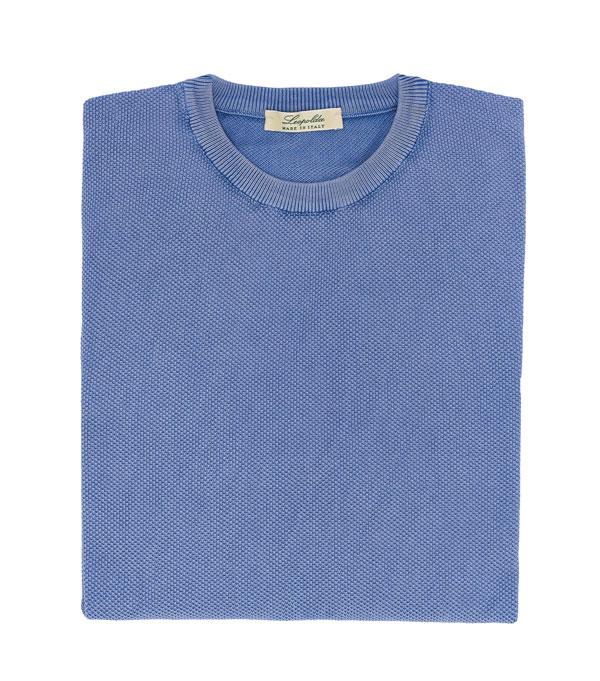 maglia con lavorazione a chicco di riso colore celeste vendita online Leopolda manifatture artigiane
