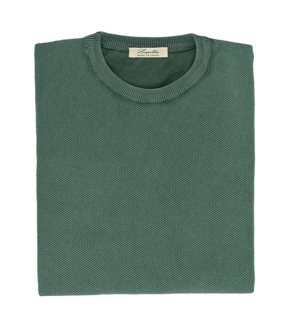 maglia con lavorazione a chicco di riso colore salviavendita online Leopolda manifatture artigiane