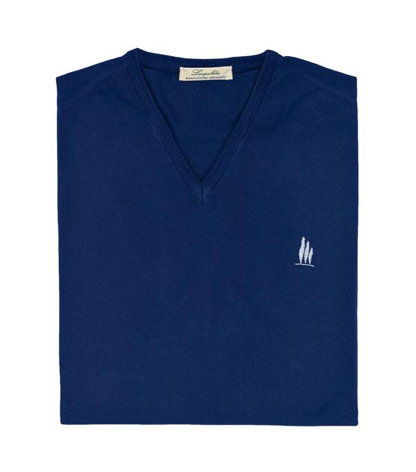 maglia scollo V cotone colore blu vendita online Leopolda manifatture artigiane
