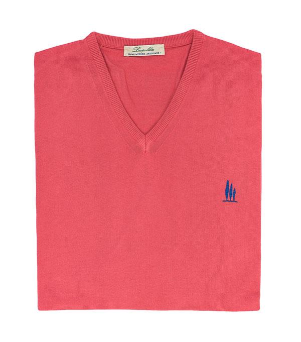 maglia scollo V  cotone colore fucsia vendita online Leopolda manifatture artigiane