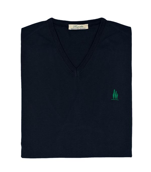 maglia scollo V colore nero vendita online su leopolda cashmere- made in italy