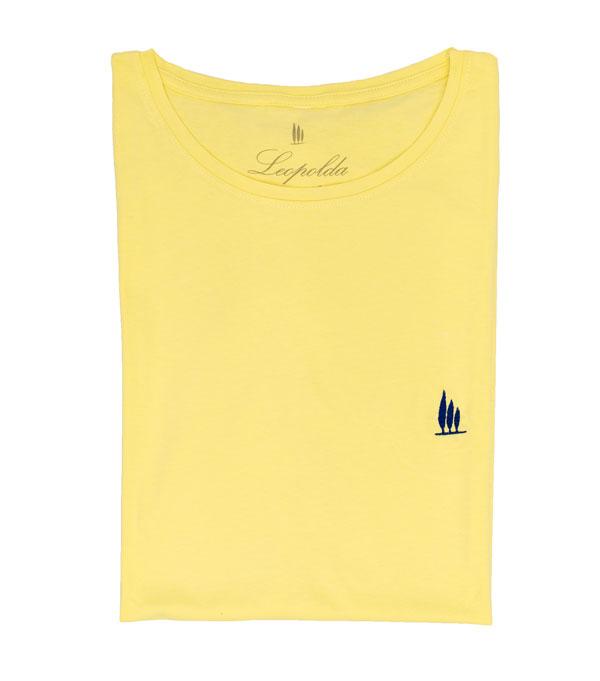maglia t-shirt uomo in cotone giallo di Leopolda cashmere - made in italy