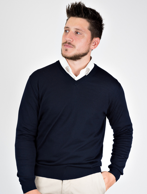 maglie in lana merino scollo v, girocollo e gilet uomo