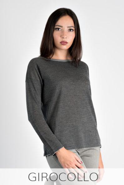 maglia bicolore in lana merinos made in italy