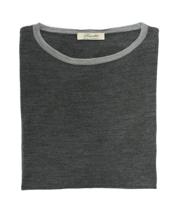 maglia bicolore in lana merinos in vendita online - made in italy