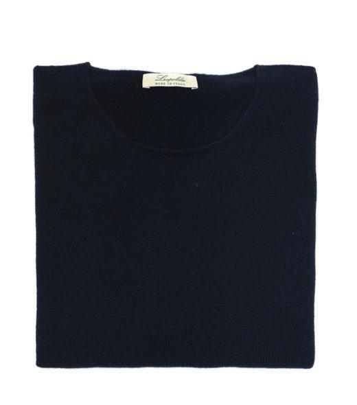 Maglia girocollo Blu Notte 100% cashmere made in Italy