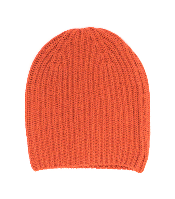 100 % cashmere hat color orange made in italy by Leopolda