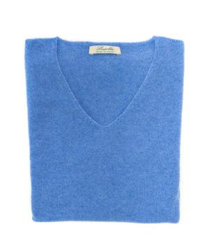 maglia scollo v azzurra in puro cashmere made in italy