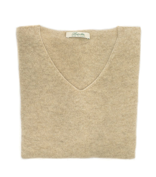 scollo v colore corda in cashmere made in italy
