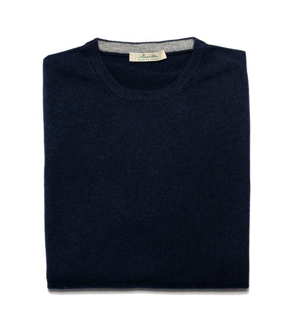 Man cashmere pullover crew neck color: navy