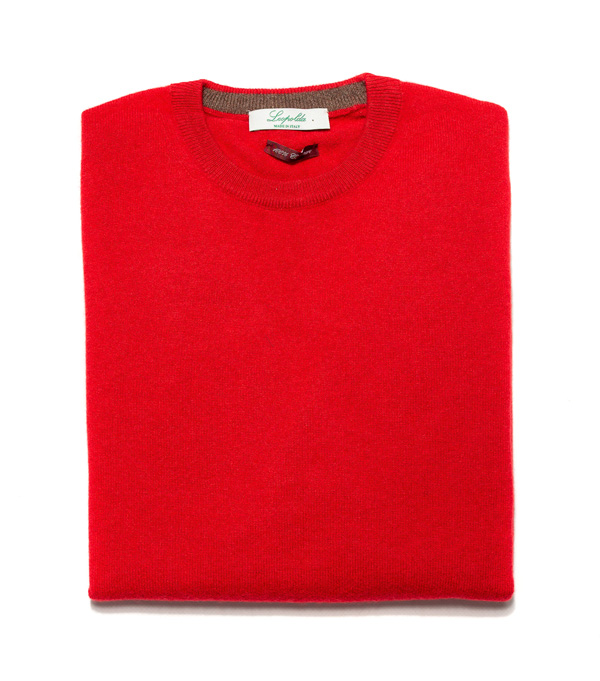 Man cashmere pullover crew neck color: Red